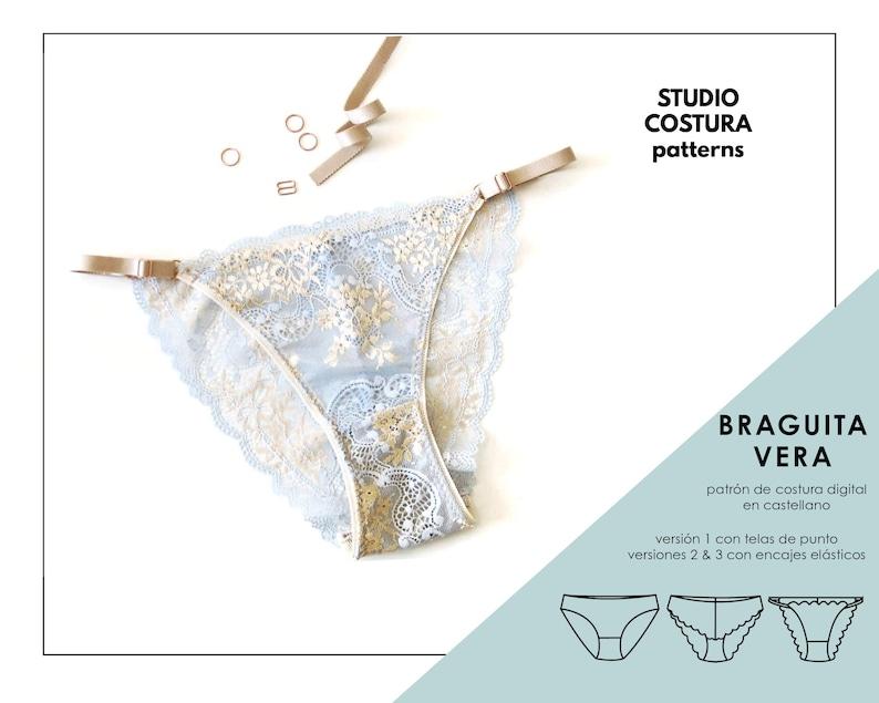 SPANISH PDF Digital Sewing Pattern Vera panties Lingerie image 0