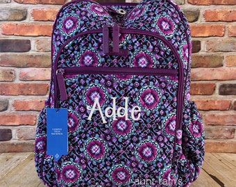 e508a159b Vera Bradley Campus Tech Backpack, Lilac Medallion, Personalized, Monogram  or Name, Embroidered, Custom