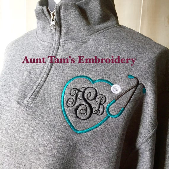 School Nurse ~ Stethoscope Monogram Sweatshirt ~ Monogram Quarter Zip ~ School Nurse Sweatshirt ~ 1/4 Zip Pullover ~ LPN ~ RN ~ SN dPcR3N