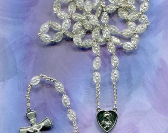 Oval, translucent 5-decade chain rosary