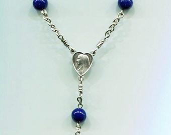 Navy blue acrylic beads 1 decade chain chaplet
