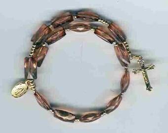 Brown rectangular bead 1-decade coil rosary bracelet