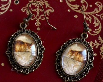 CHESHIRE cat Alice the Wonderland earrings bronze cabochons oval 13x18mm BOCB026
