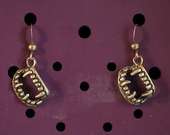 DRACULA earrings bronze vampire teeth bela lugosi dentier creature angel Dracula BOB024