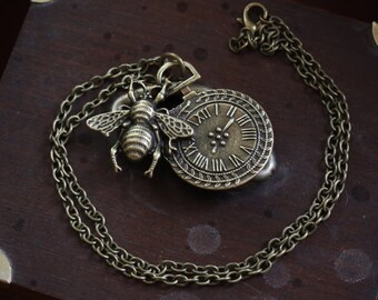 Bee necklace steampunk insect COP011 pocket watch