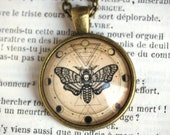 Butterfly SPHINX deathhead and PHASES of the LUNE voyance necklace pendant cabochon bronze and glass 25 mm medallion astrology tarot COC041