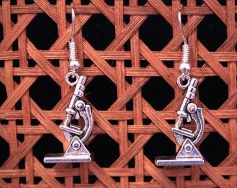 MICROSCOPE earrings silver scientists science Biology Chemistry molecule Professor BOA019