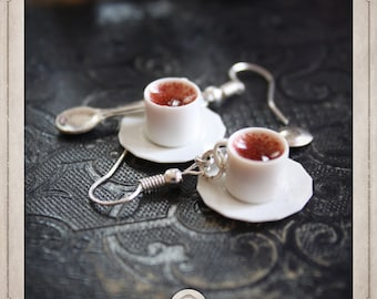 Spoons and coffee cups filled with coffee earrings silver, mocha, cappuccino, starbucks, espresso MB006