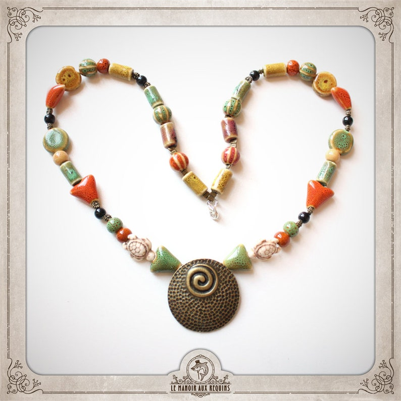 spiral green brown orange beige black NECKLACE ring necklace CERAMIQUE and ethnic bronze tubes spheres triangles COCE002 geometric