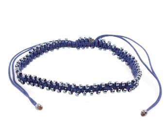 Ultra Slim Flat Macrame Gunmetal Bracelet/Anklet - TinyLittlePiecesShop