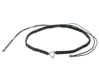 Macrame Triangle Gunmetal Bracelet/Anklet - TinyLittlePiecesShop