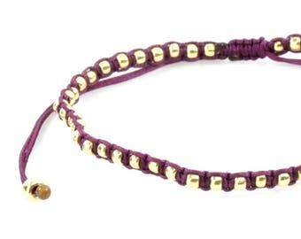 Ultra Slim Flat Macrame Framed Pearls Gold Bracelet/Anklet - TinyLittlePiecesShop