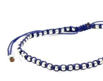 Ultra Slim Flat Macrame Framed Pearls Silver Bracelet/Anklet - TinyLittlePiecesShop