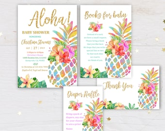 Aloha Baby Shower EDITABLE Instant Access Baby Shower Invitation Kit Botanical Watercolor Invitation Tropical Baby Shower invitation