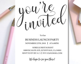 Invitation template etsy try demo business launch invitation template instant download editable business template business invite launch party invitation flashek Choice Image