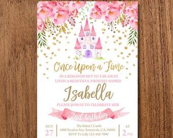 Princess Invitation INSTANT DOWNLOAD EDITABLE Birthday Party Pink Gold Invite Royal Girl Prin1