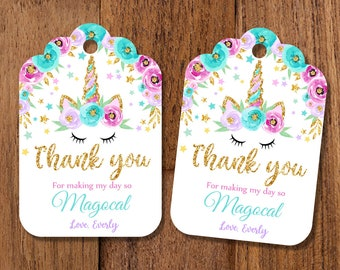 Unicorn Favor Tags Magical Party Decor Thank You Labels Birthday Gift Flowers