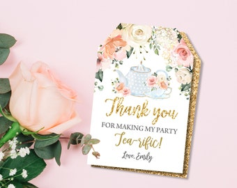 5 Floral tea party luggage style gift tags