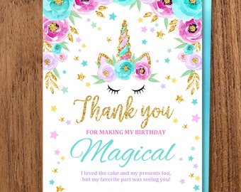 Star Unicorn Thank You Card Rainbow Birthday Party