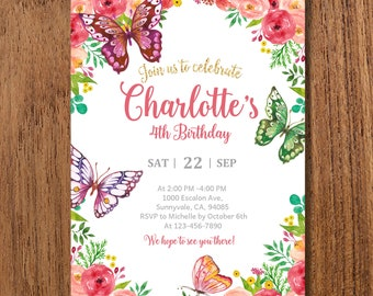 Butterfly Invitations Invitation Birthday Party Garden