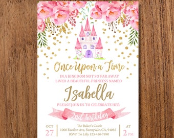 Princess Invitation 5x7in INSTANT DOWNLOAD EDITABLE Birthday Party Pink Gold Invite Royal Girl