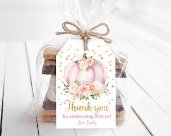 Pumpkin Favor Tags/ Little Pumpkin Gift Tags/ Birthday favor tag/ EDITABLE, INSTANT DOWNLOAD/ Bir138