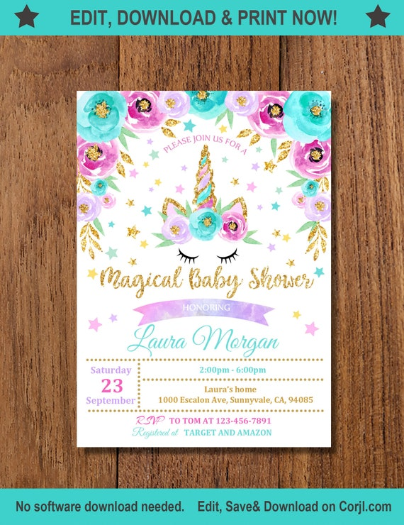 Rainbow Unicorn Baby Shower Thank you Card Rainbow Gold Unicorn Girl INSTANT DOWNLOAD EDITABLE 5X7 4X6in included