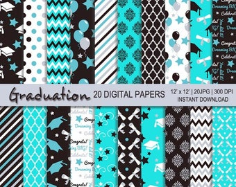 Graduation digital paper, graduation printable, personal commercial use, Grad, Graduate digital, Graduation, 20 digital paper, Mint Graduate