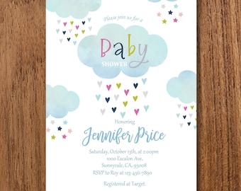 Cloud Baby Shower Invitation - Rain Baby Shower Invitation - Gender Neutral Baby Shower Invite - Baby shower Invite - Printable Invite