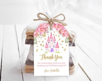 Princess Thank You Tags/ Princess favor Tags/ Editable, Instant download/ Prin1