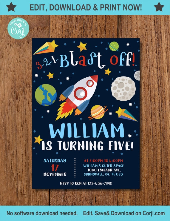 Solar System Space Birthday Invitation Outer Digital Print