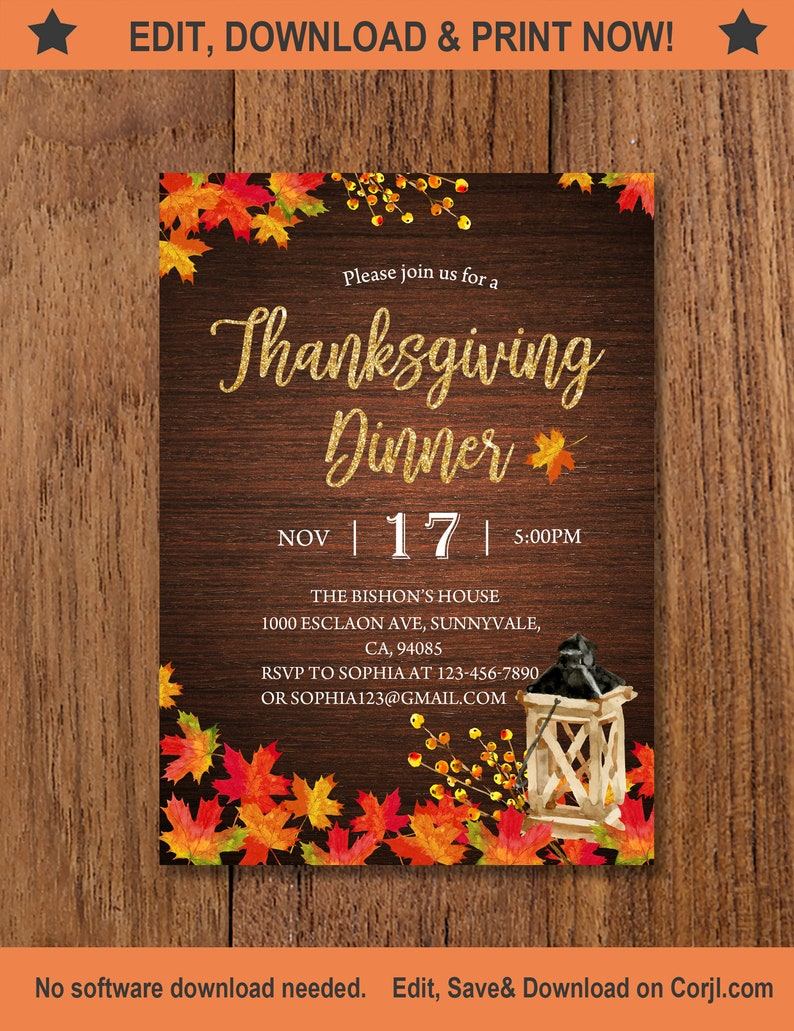 graphic about Printable Thanksgiving Invitations called Printable Thanksgiving Invitation, Thanksgiving Meal Invitation, rustic, Thanksgiving Invites, maple leaf invitation, lantern