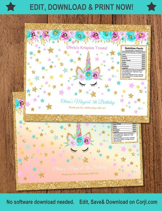 Unicorn 2 Chip Bags Rainbow Gold Glitter Printable INSTANT DOWNLOAD EDITABLEBirthday Favor BagsUnicorn Rainbow Themed FSU1