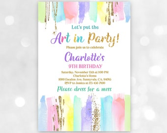 Painting Birthday Invitation/ Art Party Invite, All Editable, Instant download/ Bir254
