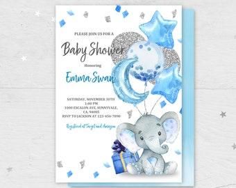 Elephant baby shower invitation/ Boy baby shower invite/ Blue silver balloon confetti/ INSTANT DOWNLOAD/ EDITABLE/ Bab62