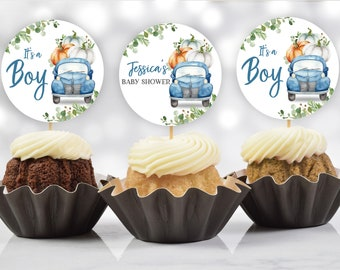 Pumpkin truck baby shower cupcake topper/ Blue truck/ EDITABLE, INSTANT DOWNLOAD/ Bab102