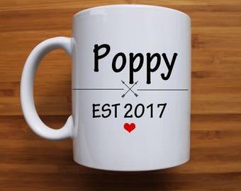 Poppy Mug, grandpa mug, pa mug, established, personalised mug, custom, gift, gift for him, fathers day gift, fathers day mug, grandparents,