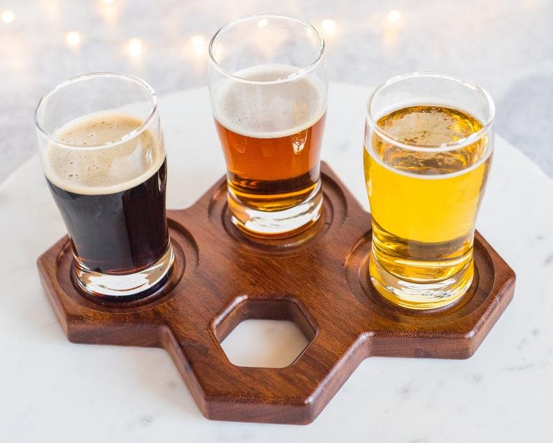 Wooden Beer Flight holder Unique Beer Flight Tray Hexagon image 0