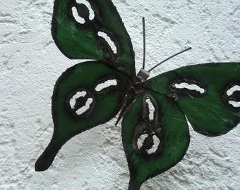Rustikale Recycling-Metall Schmetterlinge Grün