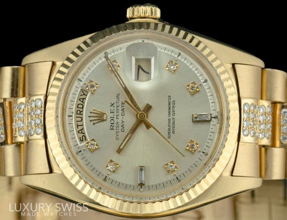 Rolex Mens Day Date 18038 18k Yellow Gold Silver With Diamond Dial And Band