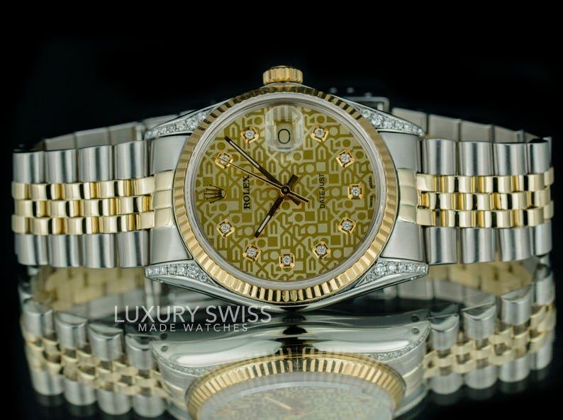 00417e2d1b2 Rolex Men s Datejust Two-Tone 36mm Champagne Jubilee