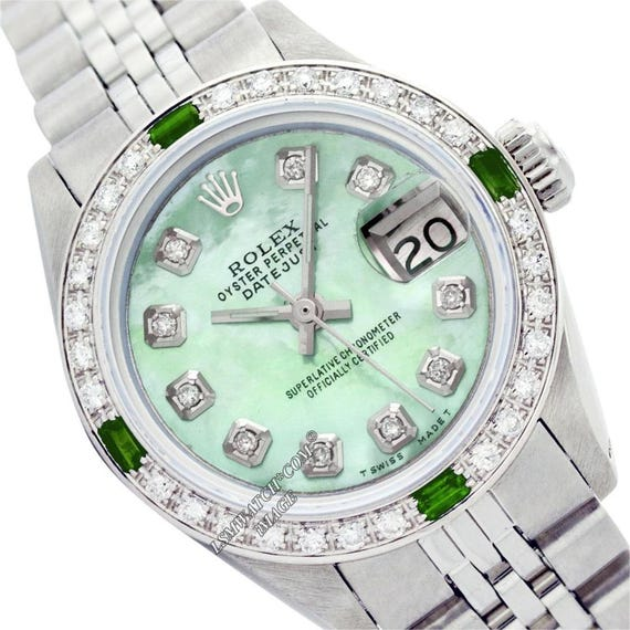 Rolex Lady Datejust 26mm Edelstahl Grün Mop Diamant Zifferblatt Diamant Lünette Uhr Gebraucht