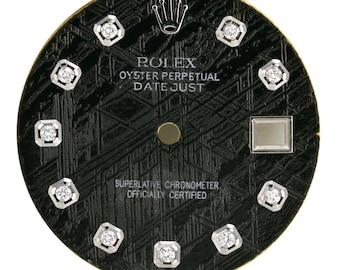 Custom Rolex Black Metiorite Diamond Dial to fit 36mm Watch -DIAL ONLY