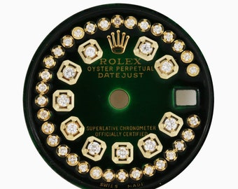 Custom Rolex Green Vignette Diamond Dial to Fit Rolex 6917 69173 Model 26mm Watch -Dial Only