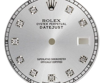 Custom Rolex Silver Diamond Dial for 36mm Watch - DIAL ONLY