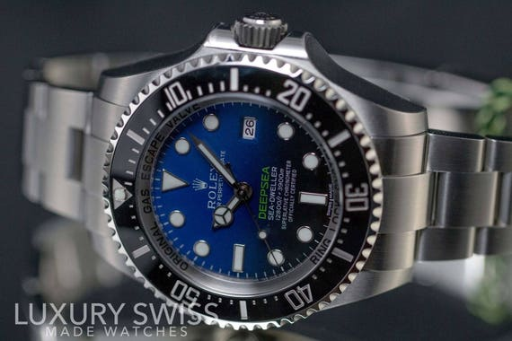 7aacc0aa8b2 Rolex Men's DeepSea 116660 Stainless Steel D-Blue Dial | Etsy