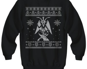 baphomet ugly sweater satan ugly christmas sweater devil ugly christmas sweatshirt