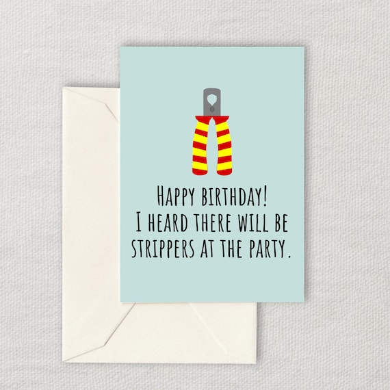 Electrician Printable Birthday Card Funny