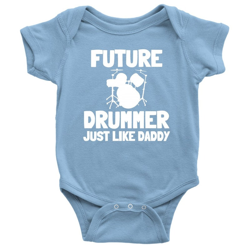 Baby Shower Gift Idea Drumming Baby One-piece Cute Drummer Baby Shirt Many Sizes And Colors Future Drummer Just Like Daddy
