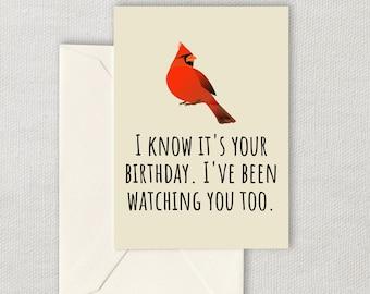 Printable Birdwatching Birthday Card - Birding Birthday Card - Bird Watching Printable Card - Birder Card - Digital Download